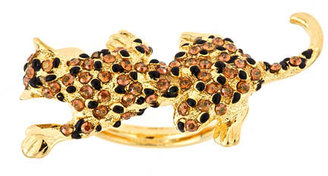 Kenneth Jay Lane Gold Panther Ring - Pouncing Panther Jewels 