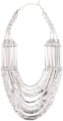 ASOS Statement Multi Row Metal Beads And Bars Necklace - Asos