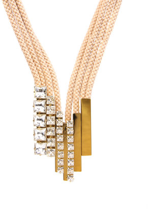 Sabrina Dehoff Nude Cord, Gold Plate And Crystal Tube Statement Necklace - Statement Necklace