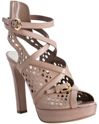 Prada nude eyelet leather platform sandals - Heels