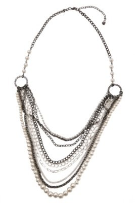Hematite Silver Pearl and Rhinestone Layered Chain Necklace - Torrid