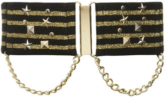 Stretch Metallic Stripe Military Belt - Metallic Belt