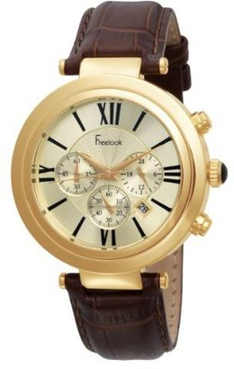 Freelook Unisex HA1136CHG-3 Brown Leather Band Gold Stainless Seel Case Champagne Dial Watch - Watches