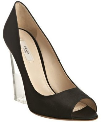 Prada black satin peep toe lucite heel pumps - Peep Toe Pumps