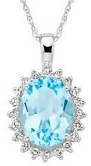 2 3/8 Carat Blue Topaz & Diamond 14K White Gold Pendant w/ Chain - Jewelry