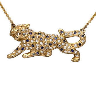 Sydney Evan Diamond and Sapphire Panther Necklace - Pouncing Panther Jewels 