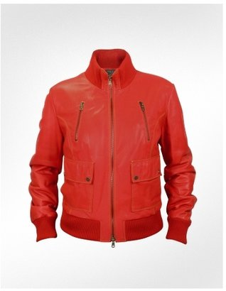Forzieri Women&#39;s Red Leather Bomber Jacket - Clothes
