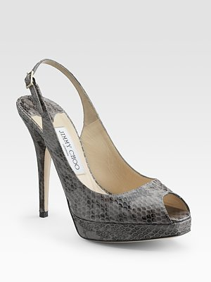 Jimmy Choo Snakeskin Peep-Toe Slingbacks - Peep Toe Pumps