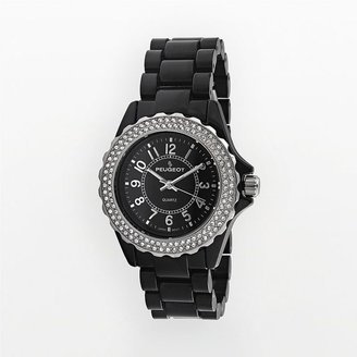 Peugeot black acrylic and silver-tone swarovski crystal watch - Watches