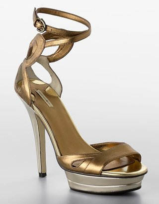 Fable Metallic Leather Platform Stiletto Sandals - Heels