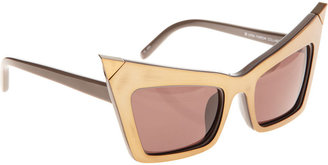 Alexander Wang Extreme Cat Eye Sunglasses - brass/grey w/dk grey - Novelty Sunglasses