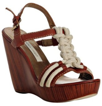 Cynthia Vincent tobacco leather &#39;Isla&#39; rope detail sandals - Rope Embellishments