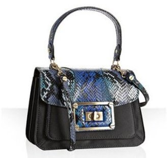 Alexis Hudson black sateen and snake print &#39;Belle&#39; small bag - Printed Leather Handbags