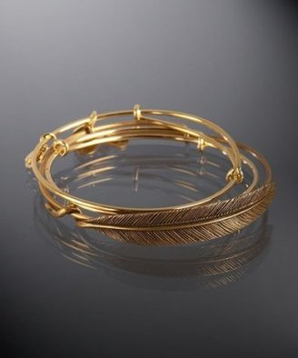 Alex and Ani set of 3 - gold quill feather expandable wire bangles - Jewelry