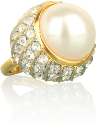 Kenneth Jay Lane Crystal &amp; Pearl Cocktail Ring - Decorative Rings