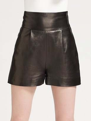 Yves Saint Laurent High-Waist Leather Shorts - Pants &amp; Shorts