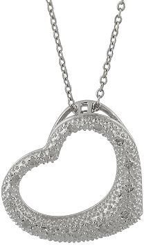 Rhodium-plated sterling silver 1/10-ct. t.w. diamond heart pendant - Sterling Silver Heart Necklaces