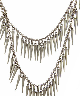 Ben-Amun Double Strand Dangling Spike Necklace - Layered Sterling Necklace