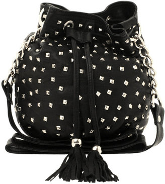 Warehouse Leather Studded Duffle Bag - Studded Shoulder Bag