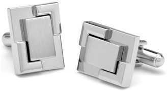 Brushed and Polished Nickel Layered Rectangular Cufflinks - Dress Like David Beckham 