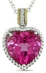 7 1/4 Carat Pink Topaz &amp; Diamond Sterling Silver &amp; 14K Yellow Gold Heart Pendant w/ Chain - Pendant Necklaces