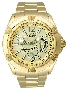 Nautica Gold-tone Retrograde Multifunction Silver Dial Men&#39;s Watch #N18536G - Incredibly Gold Watches for Men