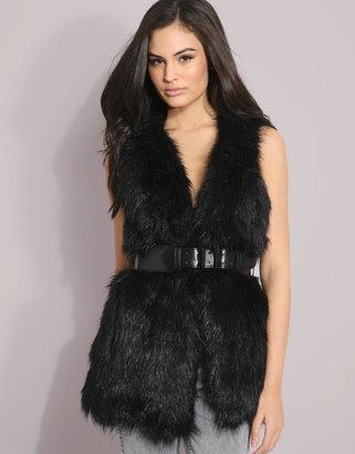 Mango Belted Faux Fur Gilet - Faux Fur Belted Vest