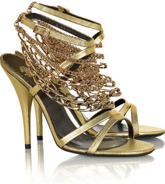 Roberto Cavalli Chain-detailed leather sandals - Strappy Sandals