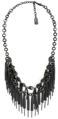 Nickel Two Row Multri-Fringe Necklace - Statement Necklace