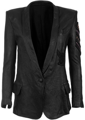 Balmain Black Embroidered Leatherjacket - Outerwear