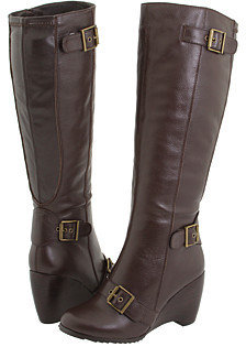 Fitzwell - Fallara II/Wide Calf (Dark Brown Tumbled Leather) - Tall Boots For Big Calves