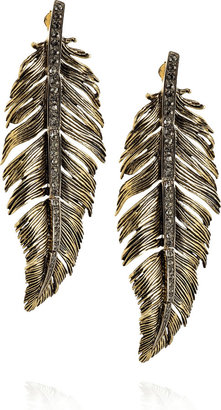 Roberto Cavalli Swarovski-embellished brass feather earrings -  Bohemian Jewelry
