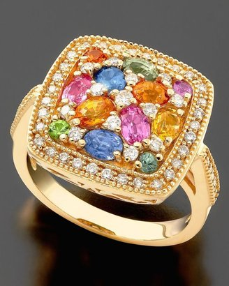 14k Gold Ring, Sapphire (2-3/8 ct. t.w.) and Diamond (3/8 ct. t.w.) - Diamond Ring