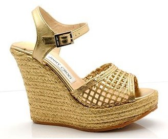"Jimmy Choo ""Pecan"" Gold Espadrille Wedges - Heels"