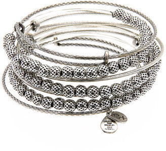 Alex and Ani Silver Euphrates Beaded Expandable Wire Bangles - Jewelry