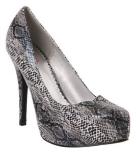 Grey Snakeskin System Heel - Shoes