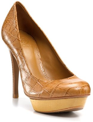 Tory Burch \x22Isabella\x22 Crocodile Platform Pumps - High Shoes