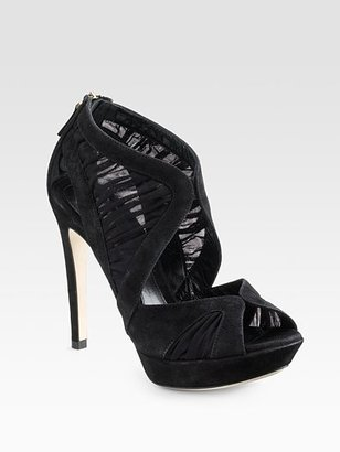 Fendi Desir Silk &amp; Suede Sandal Boots - Heels
