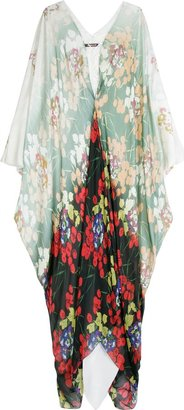 Roberto Cavalli Silk Floral Kaftan Dress - Clothes