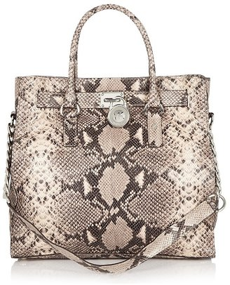 MICHAEL Michael Kors Hamilton Python-Embossed Leather Tote - Tote Bags