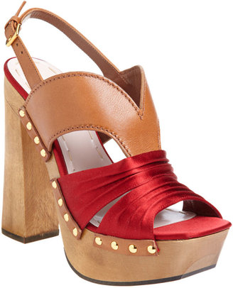 Miu Miu Studded Platform Clog - Brown/Red - Chic and Easy Clogs