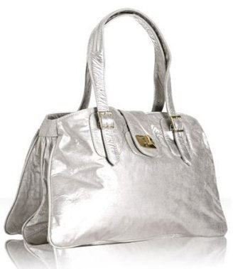 Bulga silver patent metallic leather &#39;Emperor&#39; shoulder bag - Oversized Bags