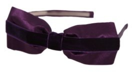Purple Satin and Velvet Bow Headband - Headband