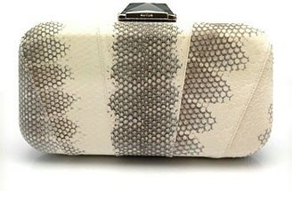 "KOTUR ""Breen"" White/Grey Snake Clutch - Slithering Snakeskin Box Clutches"