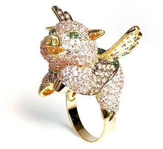 nOir - Flying Pig Ring, Pink/Green/Gold - The Best of Noir Jewelry