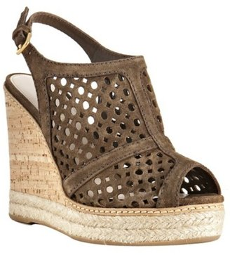 Prada cigar perforated suede slingback wedges - Heels