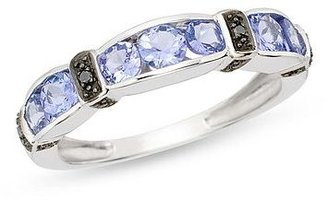 1 Carat Tanzanite and Black Diamond 14K White Gold Ring - Diamond Ring