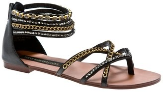 Sm Luxe Brooch Leather Gladiator - Sandals