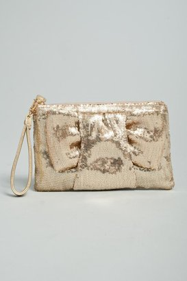 Felix Rey Sequin Bow Clutch In Light Gold - Felix Rey