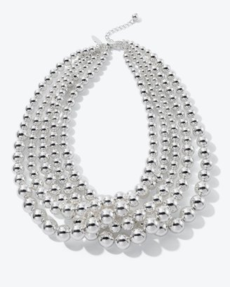 Graduated Silvertone Bead Necklace - Jewelry